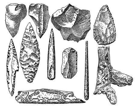 Vintage engraving set of prehistoric stone items