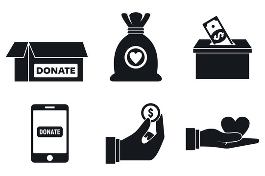 Nonprofit donations icons set. Simple set of nonprofit donations vector icons for web design on white background