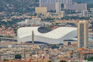 Fototapete - Aerial view of Marseille city and the Orange Velodrome stadium, France