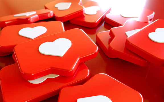 3D Social Media Network Love and Like Heart Icon Rendering Background in red.