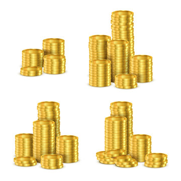 Golden coins stacks, gold cash coin pile vector realistic 3d