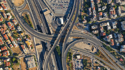 Aerial photo of multilevel junction highway passing through city centre