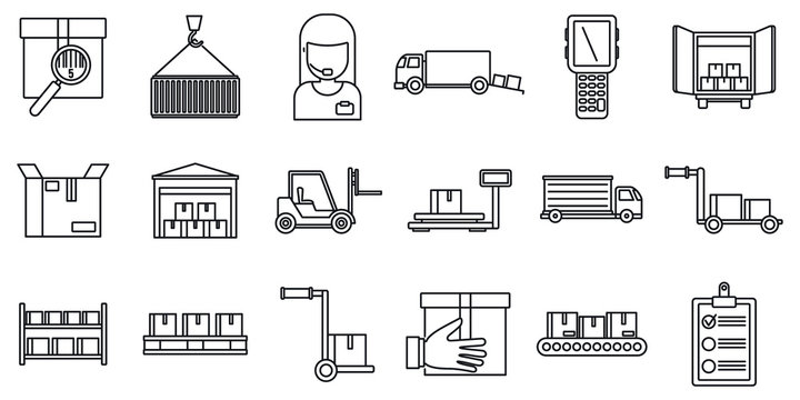 Warehouse building icons set. Outline set of warehouse building vector icons for web design isolated on white background