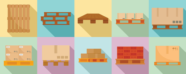 Pallet icons set. Flat set of pallet vector icons for web design