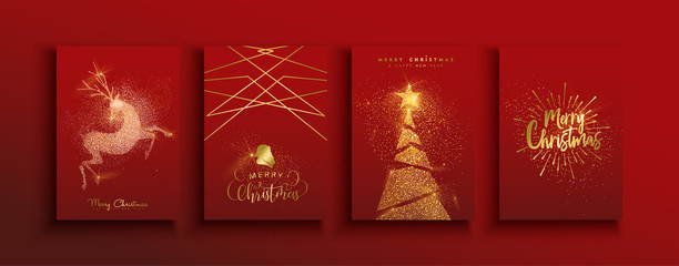 Wall Mural - Christmas and new year gold glitter luxury card set