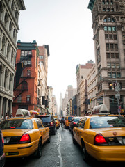 Foto auf Leinwand New York TAXI Traffic jam in Soho, New York City, Manhattan, USA