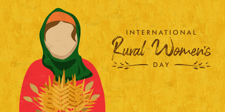 Rural womens day banner of farm worker woman