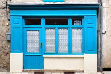 old shop at the blue facade
