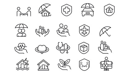 Insurance icon vector design black and white background