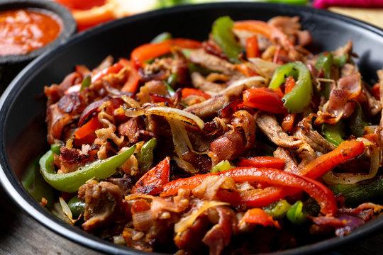 """Mexican beef fajitas also called """"alambre"""""""