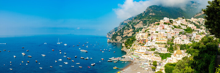 Deurstickers Blauw Positano and boats