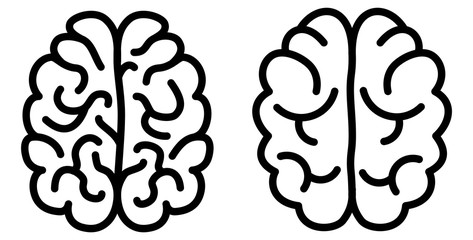 Simple black brain icon, two versions, complex and simpler