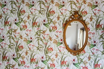 vintage mirror with flowers