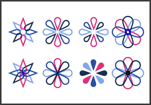 Pink and Blue Flower Icon Set