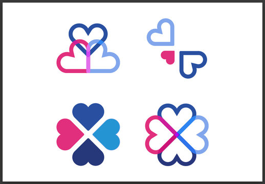 Pink and Blue Hearts Icon Set
