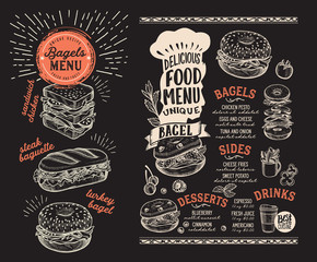 Photo sur Toile Snack Bagel and sandwich menu for restaurant with food graphic illustrations.
