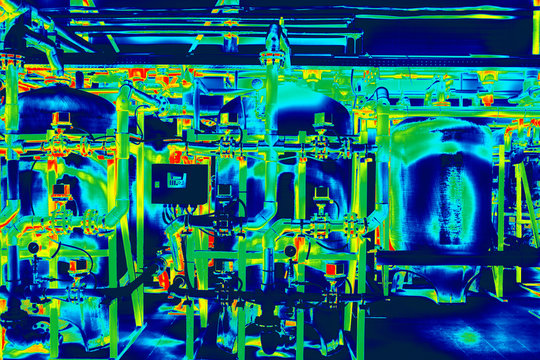 Infrared image of industrial engineering system with pipes