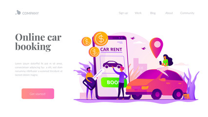 Car rent, automobile leasing. Clients choosing personal transport. Auto dealership. Rental car service, budget car rental, online car booking concept. Website homepage header landing web page template