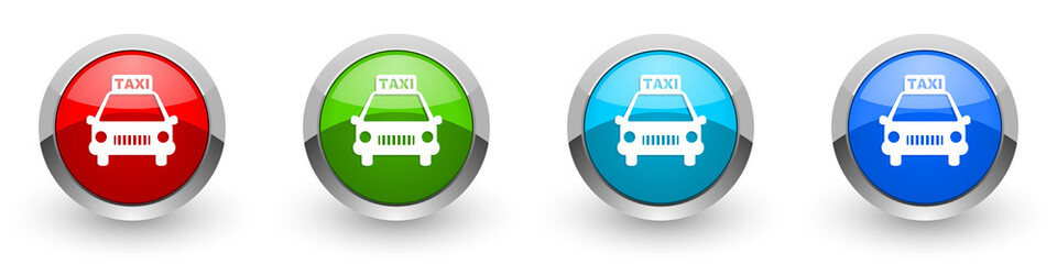 Fotomurales - Taxi silver metallic glossy icons, red, set of modern design buttons for web, internet and mobile applications in four colors options isolated on white background