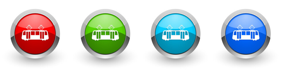 Fotomurales - Tram silver metallic glossy icons, red, set of modern design buttons for web, internet and mobile applications in four colors options isolated on white background