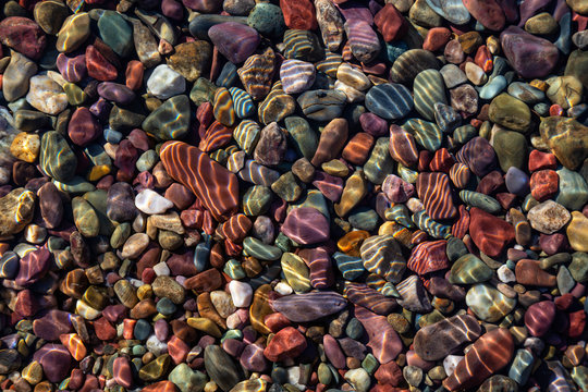 Colorful Rocks in a Glacier Lake during a sunny summer day. Taken in Lake McDonald, Glacier National Park, Montana, USA.