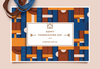 Geometric Pattern Thanksgiving Card Layout