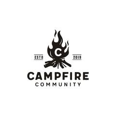 Bonfire Camp fire flame vintage retro logo design