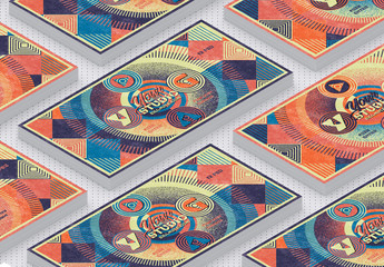 Abstract Flyer Layout with Colorful Geometric Pattern