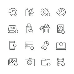 Recovery related icons: thin vector icon set, black and white kit