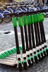 Green electric scooters in Oslo