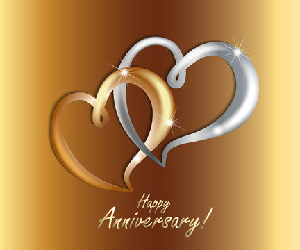 Gold love hearts wedding anniversary luxury symbol icon vector image