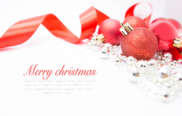 Red xmas on white background . Merry christmas card.  christmas concept. Happy New Year. Space for text.
