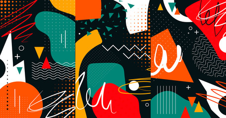 Creative doodle art header with different shapes and textures. Collage. Vector illustration