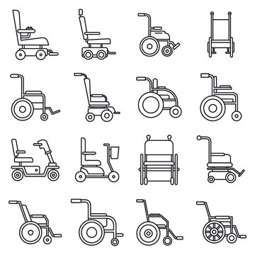 Human wheelchair icons set. Outline set of human wheelchair vector icons for web design isolated on white background