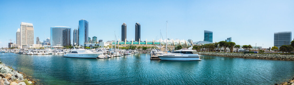 San Diego Marina Harbor Panoramic View. Luxury Yachts in Embarcadero Marina Park  With San Diego Skyline and Convention Center in Background