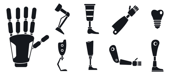 Artificial limbs prosthesis icons set. Simple set of artificial limbs prosthesis vector icons for web design on white background