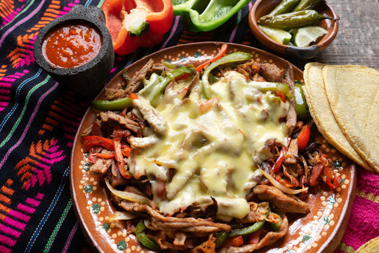 """Mexican beef fajitas also called """"alambre"""" with cheese"""