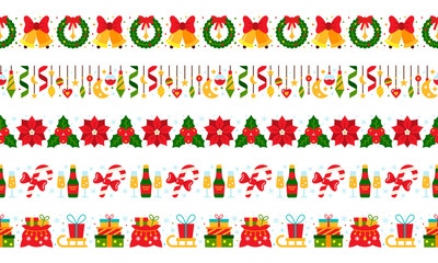christmas border vector seamless pattern red green