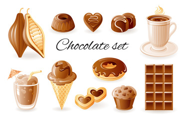 Chocolate, coffee cocoa icon set. Chocolate bar, candy, donut, muffin, cacao bean, cookie. Realistic 3d color glossy vector illustrations isolated on white background. Organic food design concept