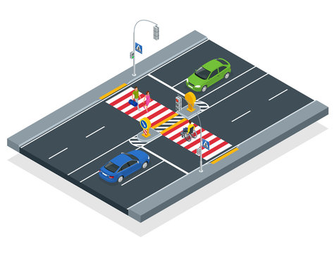 Isometric people cross the road at a pedestrian crossing. A disabled man in a wheelchair crosses the street.
