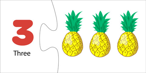 Number 3 and three pineapples. Children's math with numbers and fruits and berries. Account for preschoolers, toddlers, children. Puzzle game, collection