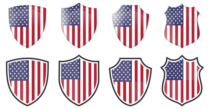 Vertical USA flag in shield shape, four 3d and simple versions. American icon / sign
