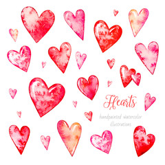 Collection of hearts. Watercolor hearts. Watercolor Valentine's day. Watercolor botanical illustration.