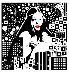 Czarno-białe tło z dziewczyną, nowoczesny miejski chaotyczny