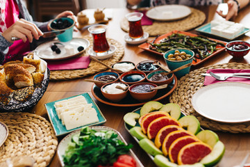 Delicious traditional turkish breakfast on table