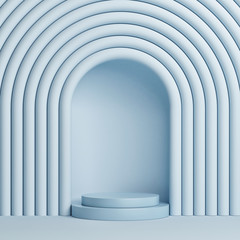 Abstract blue background with winner podium. 3d render, 3d illustration