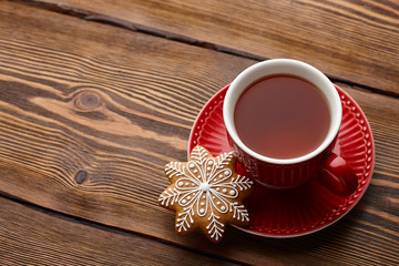 Poster Thee Cup of tea with Christmas gingerbread cookie