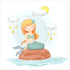 vector illustration of cute mermaid sitting on a rock with clouds and stars hand drawn.