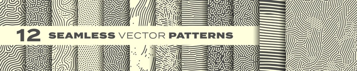 Tuinposter Kunstmatig Seamless patterns vector set, abstract organic lines backgrounds. Creative design biological patterns with memphis dots and irregular squiggle line shape texture
