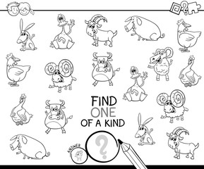 one of a kind game with farm animals coloring book